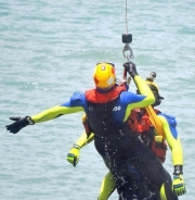 A Rescuer And Victim Are Winched From Keppel Bay During The RACQ CHRS Mock Rescue-gallery